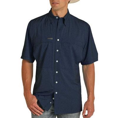 Panhandle Men's Blue Geo Performance Fishing Shirt