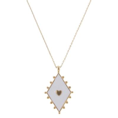 Jane Marie Women's White and Gold Heart Necklace