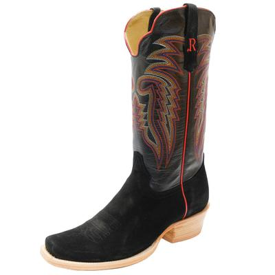 R. Watson Black Roughout Western Boots