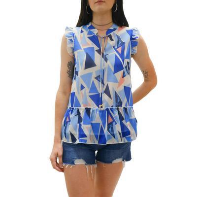 Joy Joy Women's Blue Geo Fashion Top