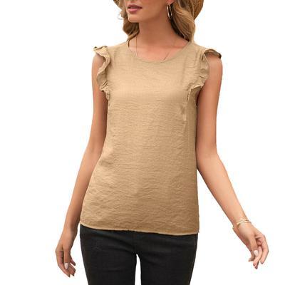 Women's Ruffle Sleeve Scoop Top