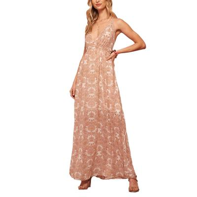 Women's Floral Open Back Maxi Dress