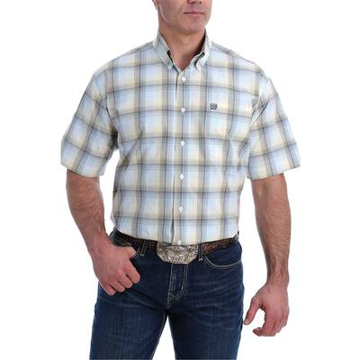 Cinch Men's Short Sleeve Light Blue Plaid Button Down