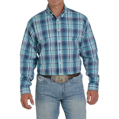 Cinch Men's Teal Plaid Stretch Button Shirt