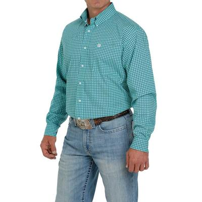 Cinch Men's Turquoise Printed Button Down