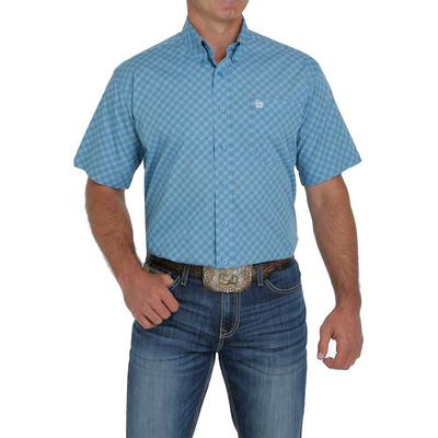 Cinch Men's Pacific Blue Printed Short Sleeve Button Down