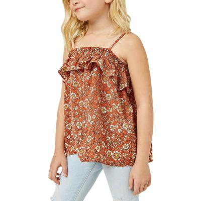 Hayden Girl's Smocked Floral Ruffle Top