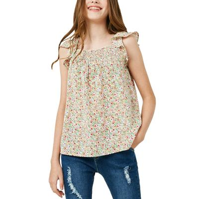 Hayden Girl's Floral Flutter Sleeve Top