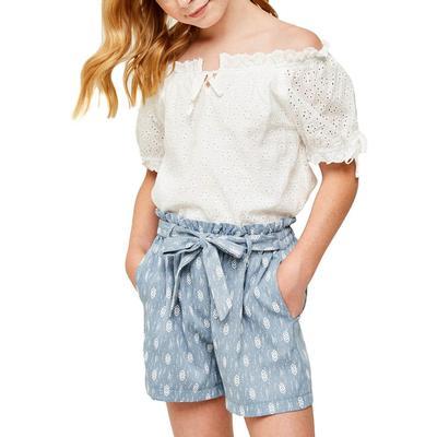 Hayden Girl's Blue Paperbag Tie Shorts
