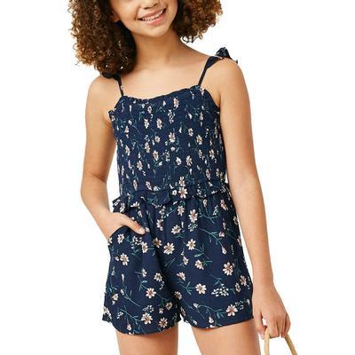 Hayden Girl's Ruffle Floral Smocked Romper