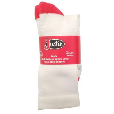 Justin Youth Medium Half Cushion Crew Socks