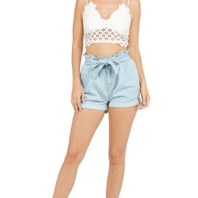 Women's Belted Paperbag Denim Shorts