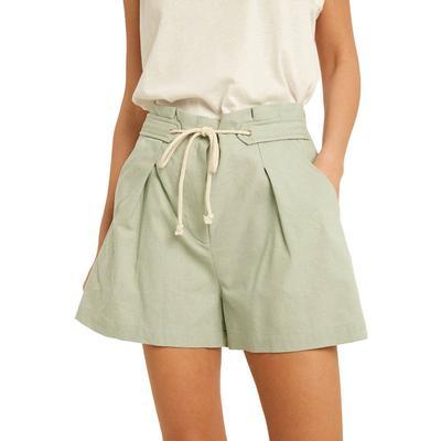 Women's Tie Front Paper Bag Shorts