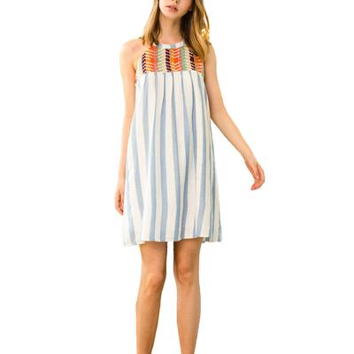Women's Stripped Embroidered Halter Dress