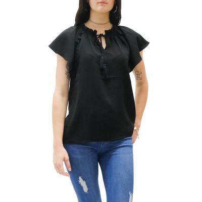 Jade Women's Cap Sleeve Black Top