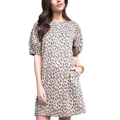 Ivy Jane Women's Leopard Knit Swing Dress