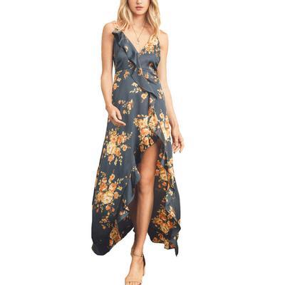 Women's Floral Ruffle Maxi Dress