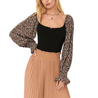 Women's Floral Puff Sleeve Knit Bodysuit