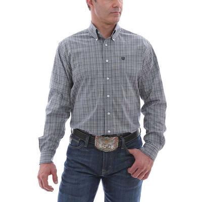 Cinch Men's Classic Grey Stretch Plaid Button Down