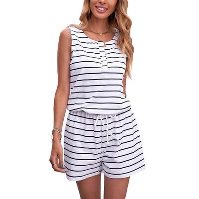 Women's Striped Sleeveless Romper