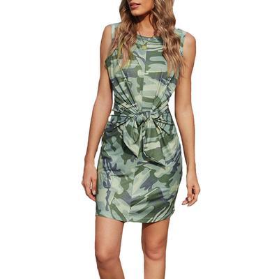 Women's Front Tie Camo Mini Dress