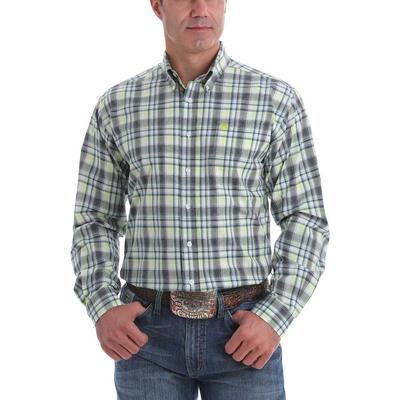 Cinch Men's Blue Lime Plaid Button Down Shirt