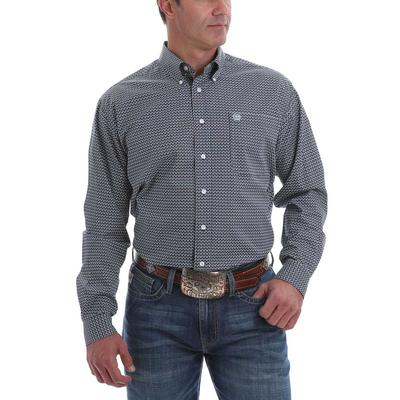 Cinch Men's Blue And White Long Sleeve Button Down