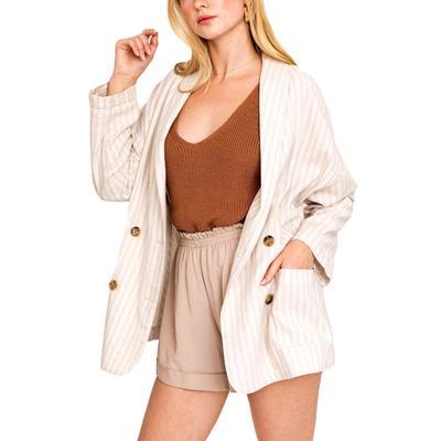 Women's Striped Khaki Basic Jacket