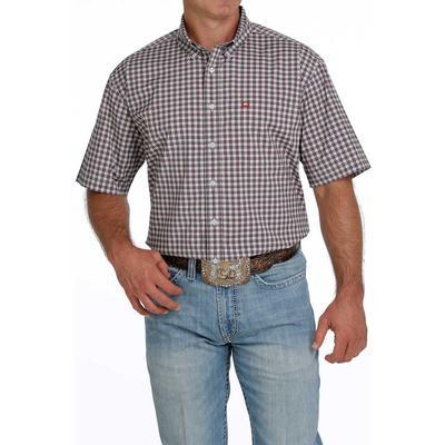 Cinch Men's ARENAFLEX Red and Cream Plaid Short Sleeve