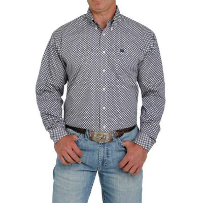 Cinch Men's Pink and Navy Geometric Print Button Down