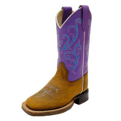 Old West Girl's Brown and Purple Western Boots