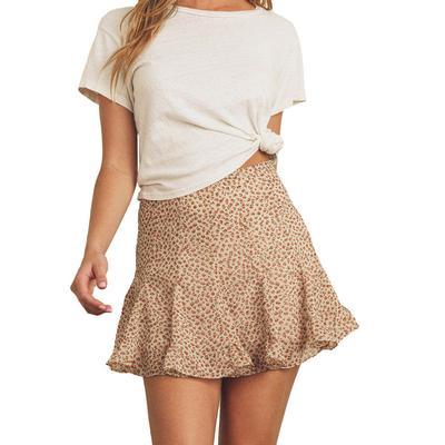 Women's Ruffle Floral Mini Skirt