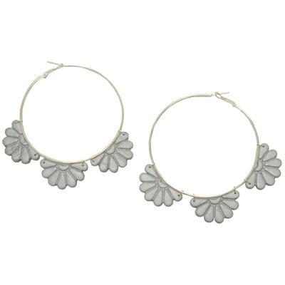 Women's Scalloped Silver Hoop Earrings