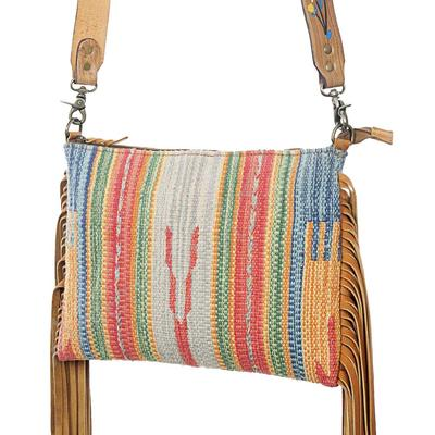 American Darling Multi- Colored Canvas And Fringe Bag