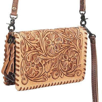 American Darling Tooled Leather Fringe Tassel Crossbody