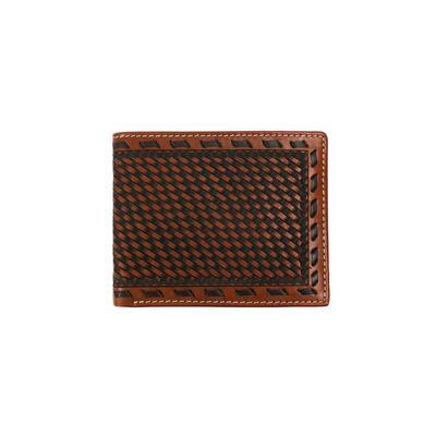 Men's Woven Leather Bi-fold Wallet