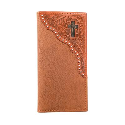 Men's Tooled Leather and Cross Hide Bi-fold Wallet