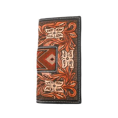 Twisted X Tooled Leather Brown Beaded Wallet