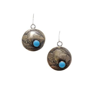 Buffalo Nickle Turquoise Stone Earrings