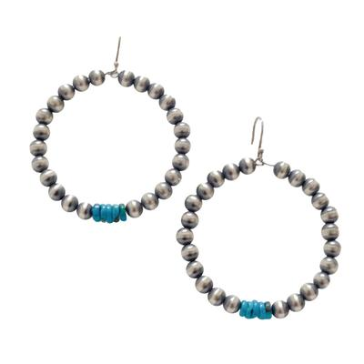 Women's Silver Pearl and Turquoise Chip Necklace