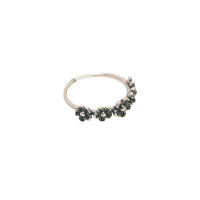Women's Sterling Silver Ring of Flowers