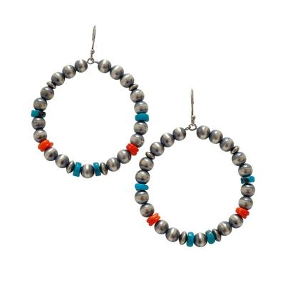 Women's Silver Pearl Turquoise and Coral Hoop Earrings