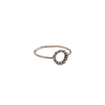 Sterling Silver Beaded Circle Ring