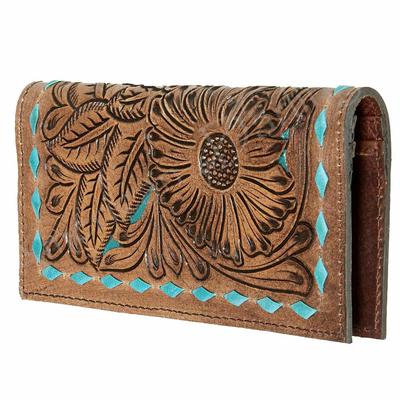 American Darling Tooled and Turquoise Stitched Wallet