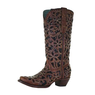 Corral Women's Black Inlay Embroidered Western Boots