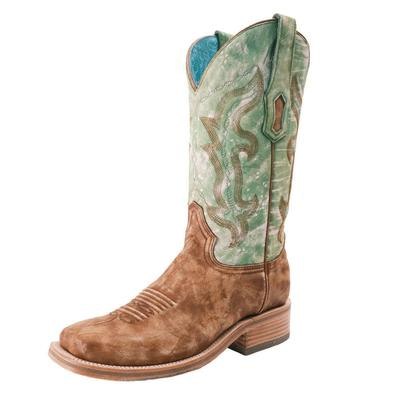 Corral Women's Sand and Green Embroidered Western Boots