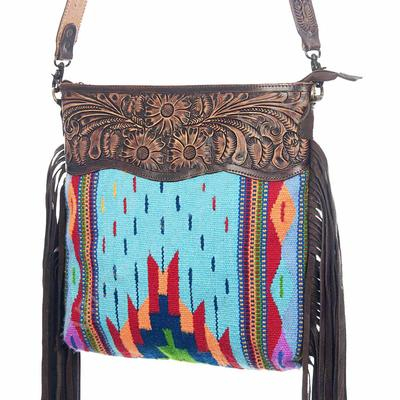 American Darling Tooled Blue And Fringe Crossbody