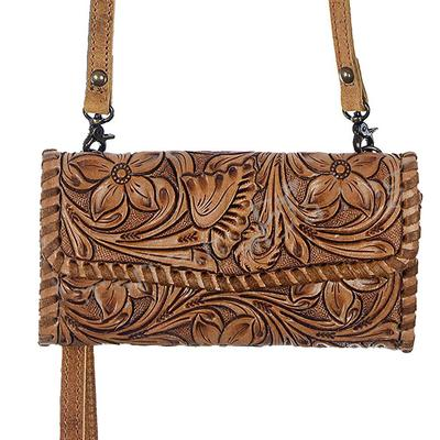 American Darling Floral Tooled Leather Wallet Purse