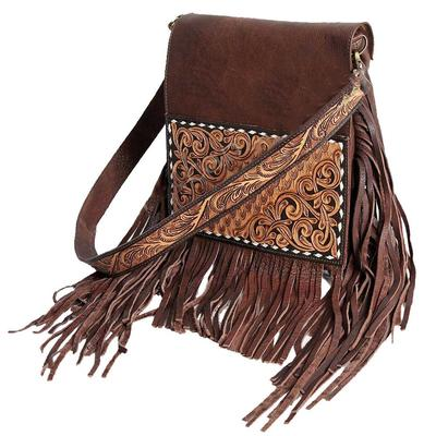 American Darling Chocolate Leather And Tooled Crossbody