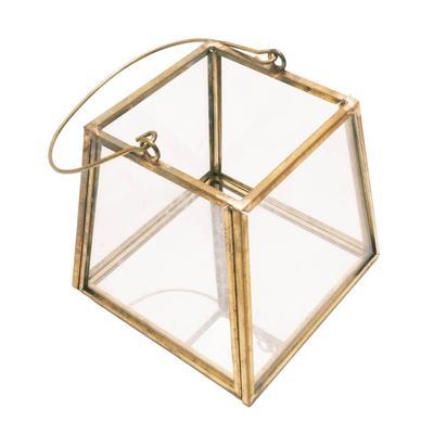 Gold Hex Wire Hanging Lantern